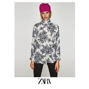 Zara | Printed blouse with flowing collar
